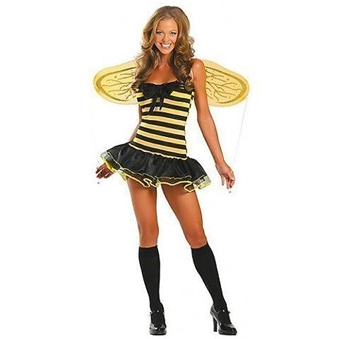 Fancy Me - Costume Femme Abeille Sexy Halloween et Ailes 3 Pc - Jaune/Noir, EU 44-46