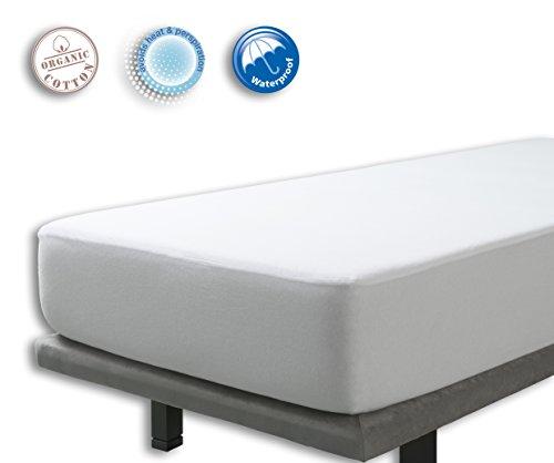 VELFONT – 2 in 1, Matratzenschoner und Spannbettlaken, wasserdicht und atmungsaktiv – verfügbar in verschiedenen Größen - 70x140cm