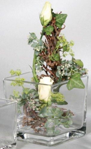 Glasvase CUBE Glasvase Teelichtglas Windlicht Vase Glas Würfel, 10 cm