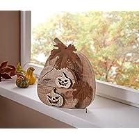 TFH Dekokürbis Woody Holzkürbis Holz Holzdeko Herbst Herbstdeko Rund  Halloween Rostdeko Türdeko Deko Modern Ausgefallen
