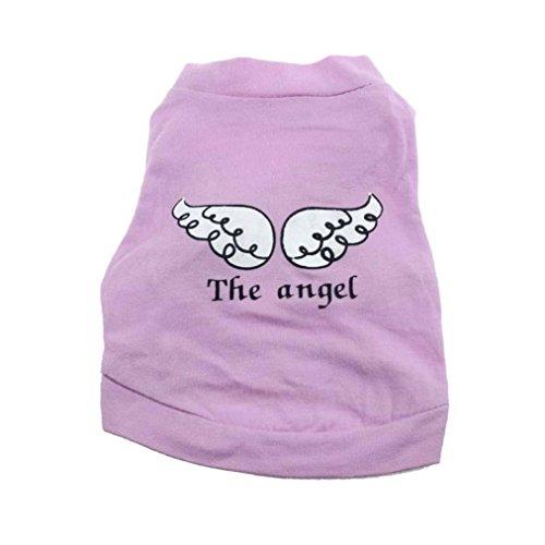 Haustierkleidung,Nettes Haustier Welpe Hund Katze Kleidung Angel Wing Muster T-Shirt Hemd Tops von Sannysis (Lila, S) (T-shirt Angels La)