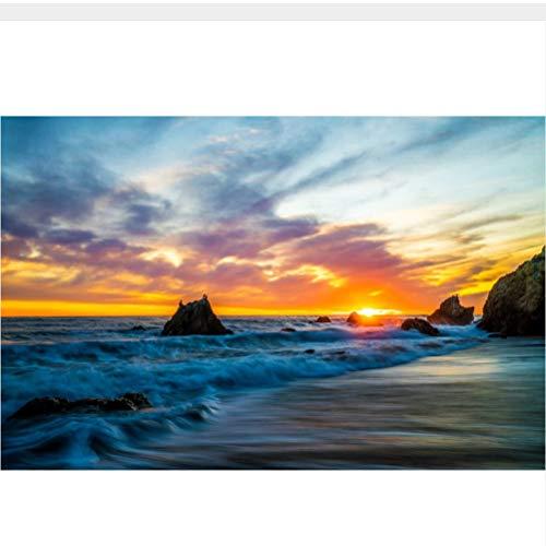 Meaosy Benutzerdefinierte 3D-Wandbilder, Küste Sonnenaufgänge Und Sonnenuntergänge Waves Sky Crag Natur Tapete, Wohnzimmer Sofa Tv Wand Tapete Für Kinderzimmer-150X120Cm