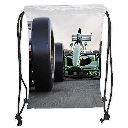 Drawstring Backpacks Bags,Cars,Motorized Sports Theme Indy Cars on Asphalt Road with Motion Blur Formula Race,Grey Black Green Soft Satin,5 Liter Capacity,Adjustable String Closure