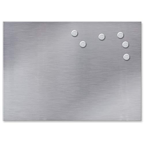 lstahl 35x50cm inkl. 6 Magnete Memoboard Küchentafel Pinnwand Silber ()