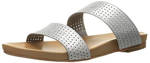 Johnston & Murphy Women's Jodi Flat Sandal, Silver, 9.5 M US