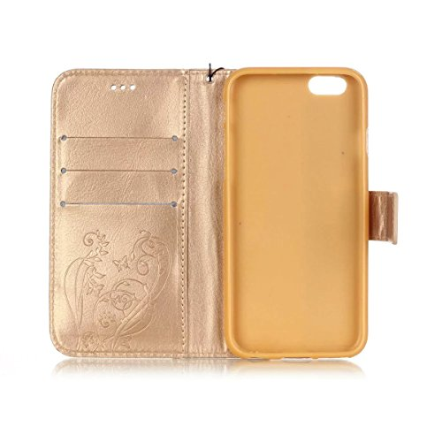 iPhone Case Cover Premium PU-Leder Tasche Cover Folio Flip-Standplatz Fall Embossing Blume Fall für iPhone 6S Plus 5,5 Zoll ( Color : Pink , Size : IPhone 6S Plus ) Gold