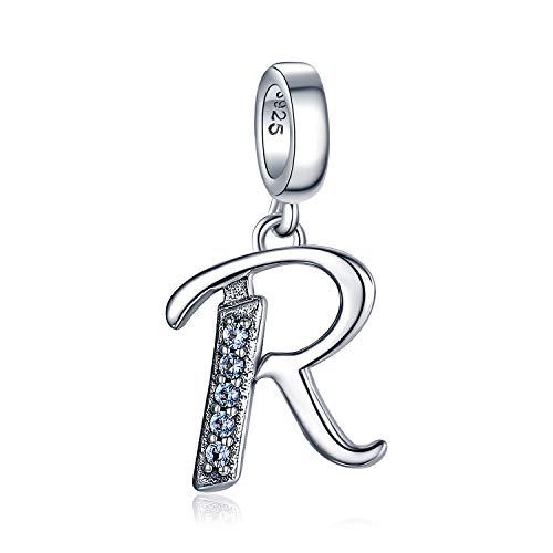 JewelryPalace Azzurro Cubic Zirconia Lettera R Ciondola Braccialetti con Perline con Charm in Argento Sterling 925