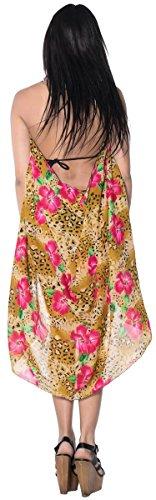 La Leela Frauen Blumenkleid Rock Wrap Sarong Pareo Strand 69x42 vertuschen in Beige / Pink