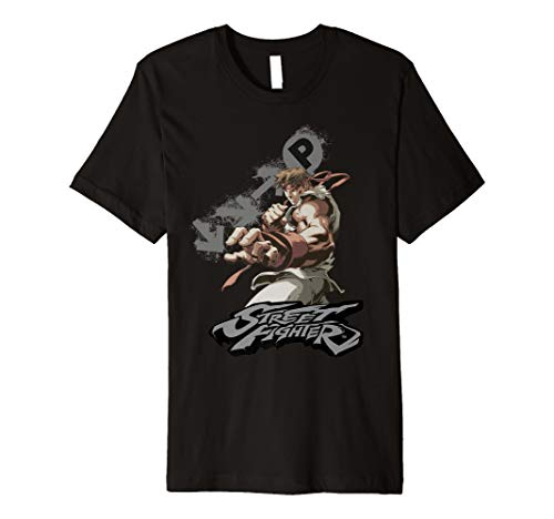 Street Fighter Ryu Portrait Fireball Dark (Fighter Street T-shirt)