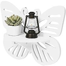 Decorativo diseño de mariposas montado en la pared estante de exhibición/estante flotante de madera, blanco–MyGift
