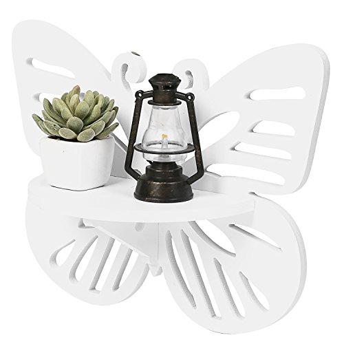 MyGift Papillon décoratif en bois design étagère murale/étagère flottante, blanc