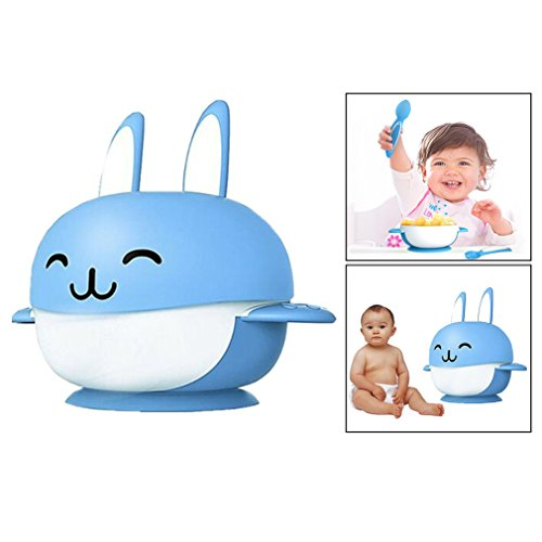 Itian Cartoon Rabbit Shape Infant Feeding Tableware 4 set Bowl With Lid Matching Spoon And Fork, Leak Proof Suction Baby Bowl (Blue) 41npo4HqVxL