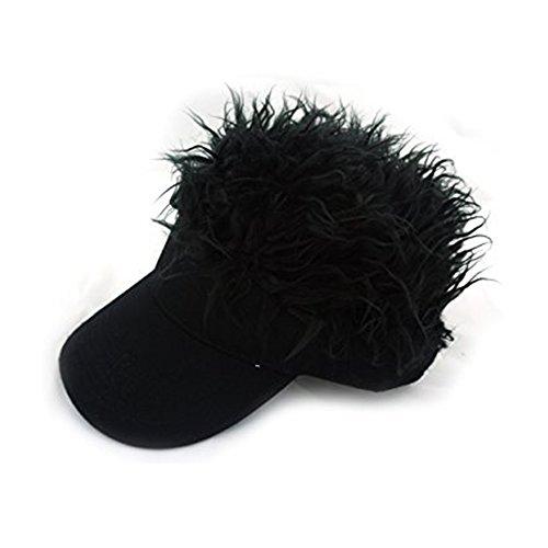 Unbekannt Flair Haar Sonnenblende Kappe mit gefälschter Haar Perücke Neuheit Baseballmütze (Schwarz-Schwarz)