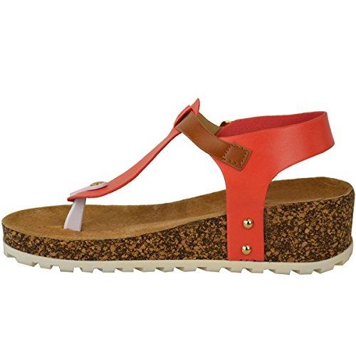 Neu Damen Keilabsatz Komfort Sandalen Gepolstert Zehentrenner Fußbett Schuh Größe Coral Pink Kunstleder