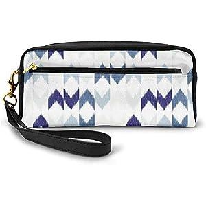 Resumen étnico Ikat Chevron con nebuloso Zigzag Folk Imagen Tradicional Pequeña Bolsa de Maquillaje con Cremallera Estuche de lápices 20cm * 5.5cm * 8.5cm