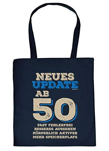 Witzige Geschenk-Tasche zum 50.Geburtstag Verpackung Update ab 50 Fast fehlerfrei … - Stofftasche Sprüche 50 Jahre - Baumwolltasche Farbe: Navyblau
