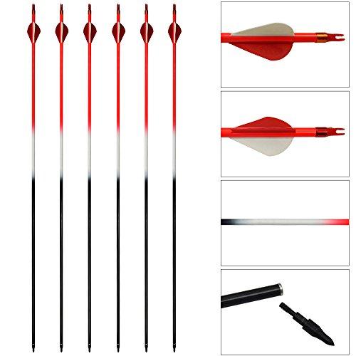 12 stücke Bogenschießen Carbon Pfeile 31 inch Jagd Ziel Praxis Schießen Pfeile Veränderbare Tipps für Recurve und Compoundbogen (Rot) (Gewehr-ziel-praxis)