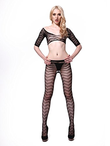 Zig Zag Stripe Top & Stockings Suit (Fantasy Lingerie Stocking)