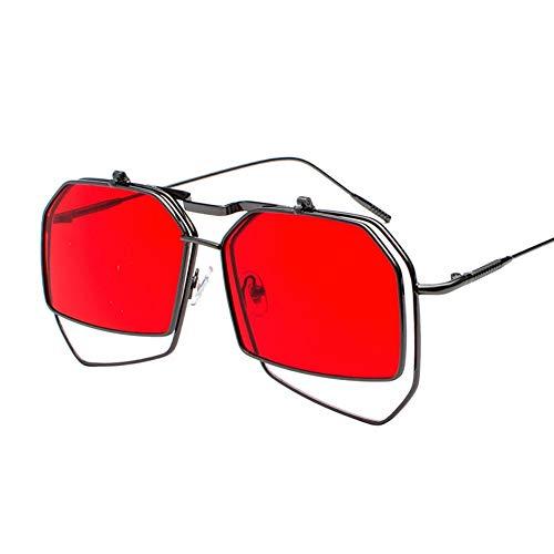 Sonnenbrille,Vintage Unregelmäßig Großen Frame Sonnenbrillen Steampunk Style Sonnenbrille Frauen Männer Vintage Uv-Schutz 400 Retro Brille Rot