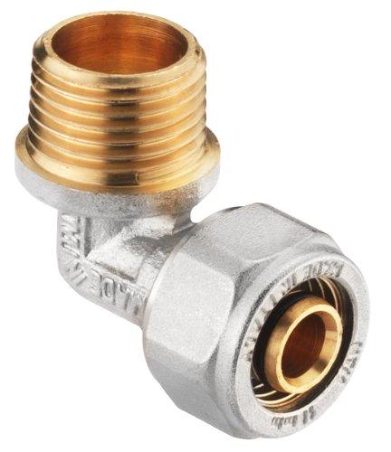 Verbundrohrsystem Schraub-Kupplung Übergang, Winkel 90°, 16 mm x 1/2 Zoll  AG, messing