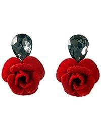 THE BLING STUDIO - Red Rose Flower With Stud Back Earrings (BS7E45)