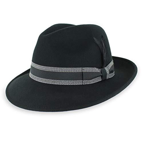 Belfry Herren Knautschkleid Fedora Vintage Style Hut 100% Reine Wolle in Schwarz Blau Grau Pecan Braun gestreift Bänder - Schwarz - Large