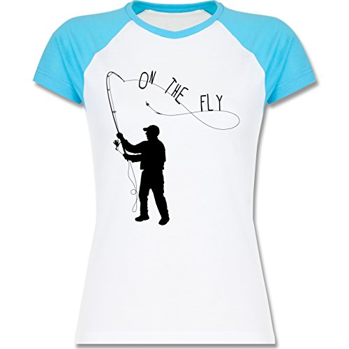 Angeln - Fishing - On the Fly - zweifarbiges Baseballshirt / Raglan T-Shirt für Damen Weiß/Türkis