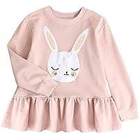 Ropa Bebe niña,(18M-5T) Vestido Largo de Manga Larga con Apliques de Orejas de Conejo de Manga Larga para niños