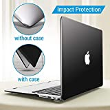 Enthopia MacBook Air 13 Inch Case (Release 2010-2017 Version - A1369 & A1466), Plastic Hard Case & Keyboard Cover and Dust Plug (Will not fit 2018 Model) – (Black) with Logo Cut