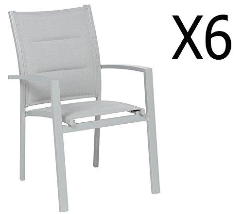 PEGANE Soldes Lot de 6 fauteuils de Jardin en Aluminium Coloris Silver Mat - Dim : L 62 x P 56 x H 90 cm