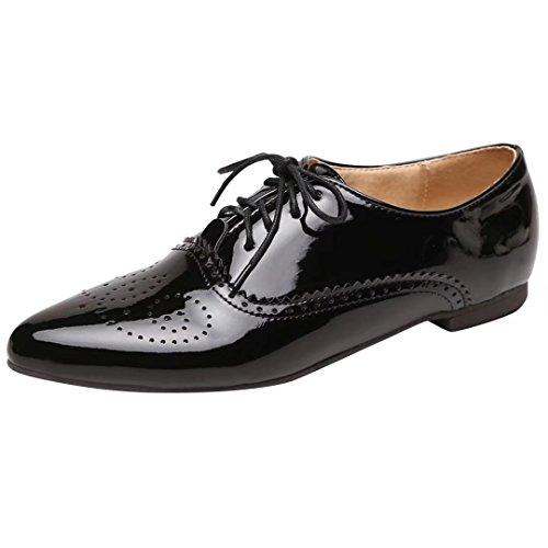 AIYOUMEI Flache Pumps mit Schnürung Lackschuhe Damen Bequeme Schuhe Für Frauen(34-43)