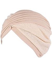 Vovotrade Mujer India Sombrero musulmán Volante fruncido Gorrita Bufanda  Turbante Cabeza Envolver Gorra Otoño Invierno ropa 86114e35862