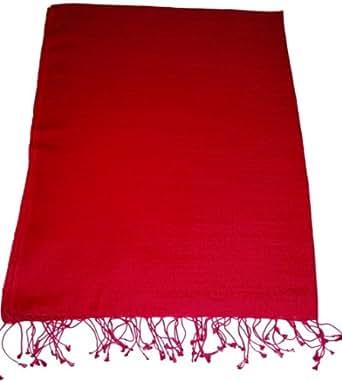 Superbe soie rouge / laine Pashmina