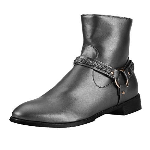 ❤ Inawayls❤ Unisex Herren Damen Erwachsene Chelsea Boots Leder Ankle Bootie Stiefel Bootsschuhe Mode-Design