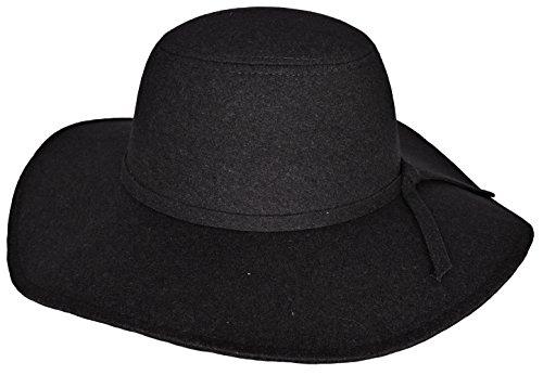 Mytem-Gear breitkrempiger Filz Hut für Damen Mütze Winterhut Wintermütze Wolle Schlapphut (schwarz)