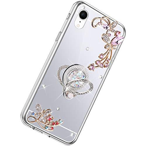 Herbests Kompatibel mit iPhone XR Hülle Glänzend Diamant Kristall Strass Glitzer Spiegel Schmetterling Blumen Handyhülle Silikon Schutzhülle Case mit Handy Fingerhalterung,Silber