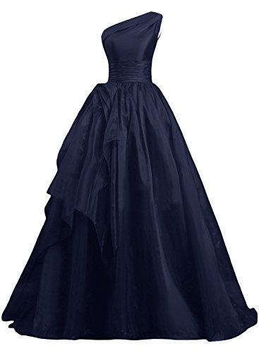 Gorgeous Bride Fashion Ein-Traeger A-Linie Organza Lang Schleppe Abendkleider Cocktailkleid Ballkleider Dunkelblau