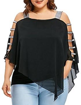 OHQ Moda de Mujer Talla Grande Escala Corte Overlay Asimétrica Blusa Sin Tirantes Tops, Blusas Para Mujer Moda...