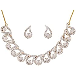 Sempre Of London Pearl Festive Imperial Cz Crystal Diamonds Pendant Necklace With Earrings For Women