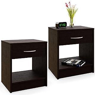2x Table de nuit à tiroir aspect bois d'ébène 40 x 50 x 35 cm Table de chevet