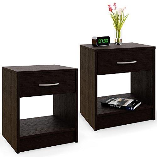 Deuba Nachttisch 2er Set Schublade mit Griff Dunkelbraun 50 x 40 x 35 cm Holz Nachtkommode Nachtkonsole Nachtschrank -