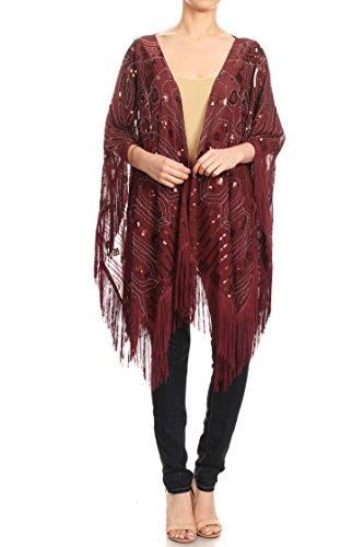 Anna-Kaci Damen Boho Perlen Pailletten Troddel Quaste Fransen Umhang Kimono Poncho Capes -