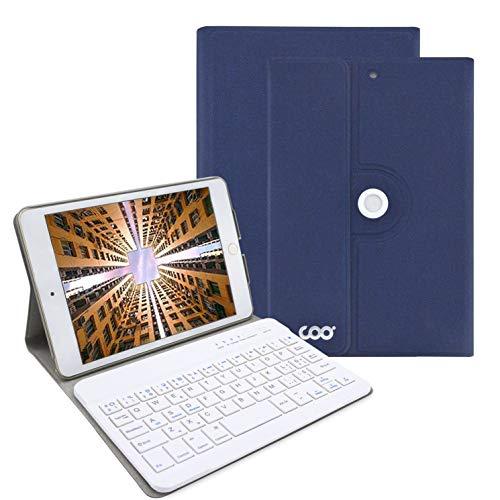 COO Funda con Teclado Español para Ipad Mini 1/2/3, 360 Grados Soporte Giratorio Inalámbrico Cuero de la PU Cubierta con Teclado Bluetooth Extraíble para iPad Mini 1/2/3 (Azul oscuro)