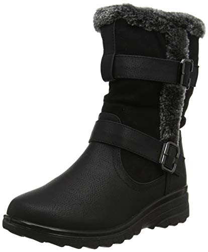 Cushion Walk Fur Lined Soft Lightweight Flexible Zip Buckle Ladies Boots UK 3-8