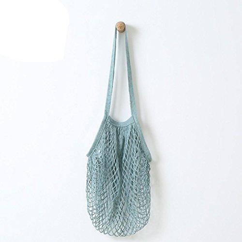 String Shopping Bag, Kingwo Grocery Mesh Net Turtle Bag Reusable Fruit String Grocery Shopper Cotton Tote Mesh Woven Net Shoulder Bag (Blau) (Shopper Woven)
