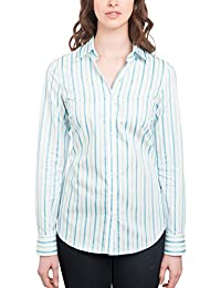 b79a2800 HAWES & CURTIS Womens White & Turquoise Stripe Semi Fitted Shirt Single Cuff