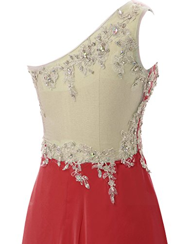 HUINI Eine Schulter Ballkleider Lange Chiffon Abendkleid Spitze Brautjungfernkleider Rot
