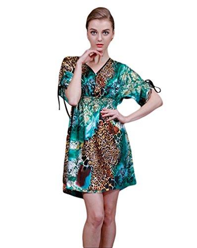 NiSeng V Ausschnitt Nachthemd Leopard Drucken Schlafanzuege Für Frauen Blauer See