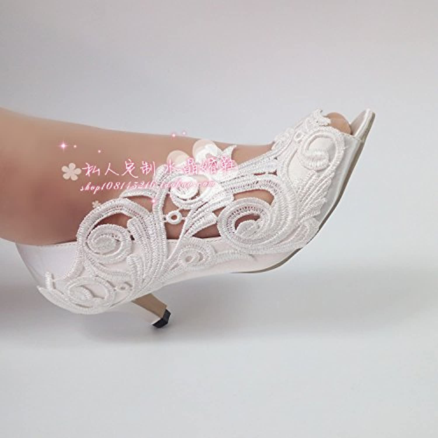 VIVIOO Prom Sandals scarpe Woman Woman Woman Peep Toe Lace Wedding scarpe Bride Bridesmaid Silks And Satins High With Shallow... | Offerta Speciale
