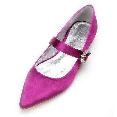 Rtry Chaussures De Mariage Pour Femmes Satin Comfort Spring Summer Wedding & Amp; Robe De Soirée Bowknot Strass Heelivory Plat Champagne Bleu Rubis Us7.5 / Eu38 / Uk5.5 / Cn38
